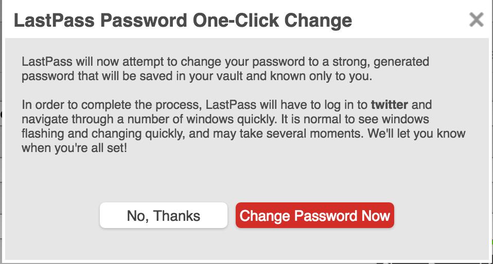Lastpass one click password change